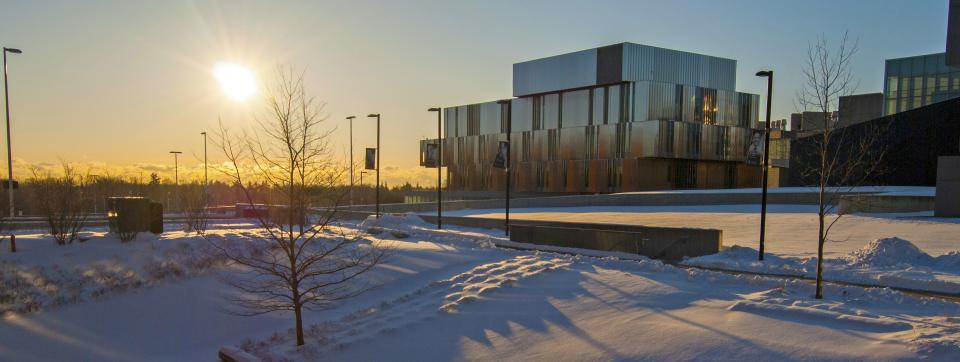 Health Sciences Complex surrounded by snow