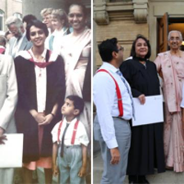 Two photos side-by-side, the first showing a family of four standing on steps, second photo is a recreation of the first, with family standing on concrete steps