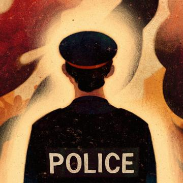 Illustration of police officer with their back to the camera, flames in front of them