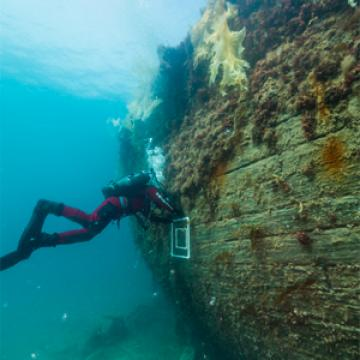 Diver at the underwater site of the Erebus