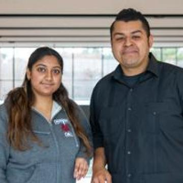 Assistant professor Jerry Flores and his research assistant, Aarthi Thota
