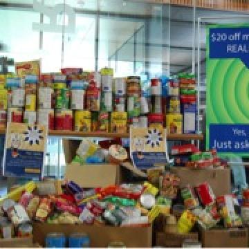 Image of donated foods at library