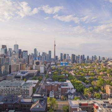 Aerial photo of downtown Toronto, CN Tower in the background