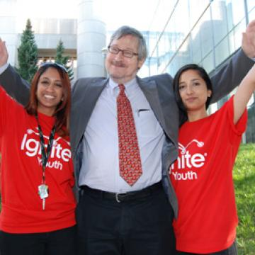 Professor Anthony Wensley with students at Ignite Youth