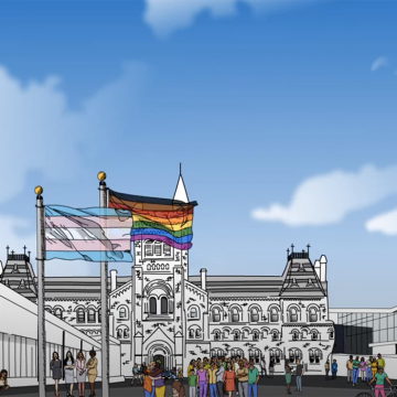 Line art of three buildings from each campus with the pride flag raised in front