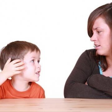 Mother talking to son