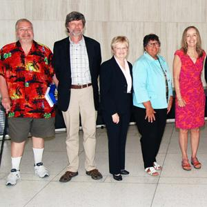 Retirees at reception in Innovation Complex