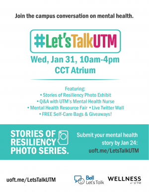 Poster for #LetsTalkUTM mental health fair