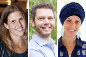 Three headshots, first of Julia MacArthur, middle is Matthew Adams and the one to the right is Sarah Hillewaert