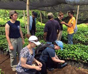Students at coffee plantation in Guatemala