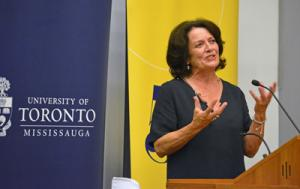 Margaret Trudeau speaking at podium
