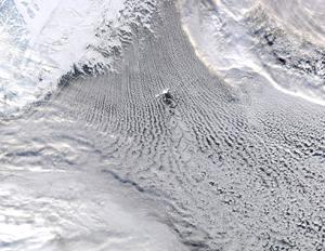 Satellite image of clouds over Greenland and Iceland