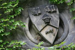 Stone crest on an ivy-covered wall