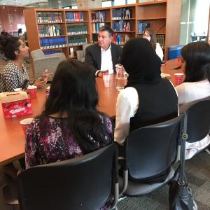 Charles Sousa talks to students at UTM