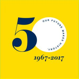 50th logo on a yellow background