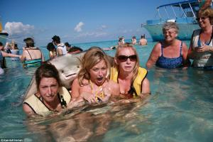 Three women pose in the water with a stingray