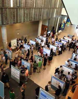 students and posters in the Instructional Centre Atrium during the Smarti Gras event