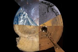 Circular image made with multiple scientific photos