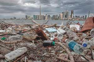 Photo of Ward Island beach covered in litter. The Toronto skyline is visible in the background.