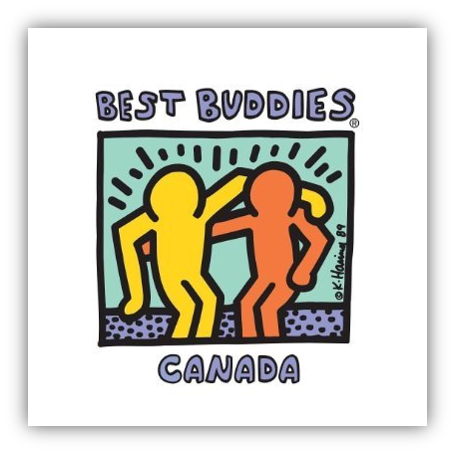 "one outline of human coloured in yellow, hugging another outline of a human coloured orange. Blue bubble letters reads "" Best Buddies Canada"""