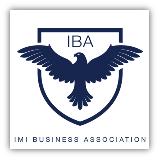 IMI Business Association Logo - blue crest with IBA initials and blue eagle