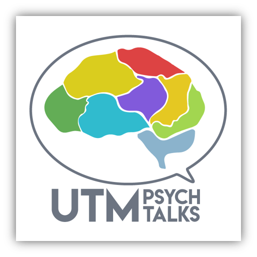Outline of a speech bubble around a human brain, with multiple colours. UTM Psych Talks written underneath the speech bubble