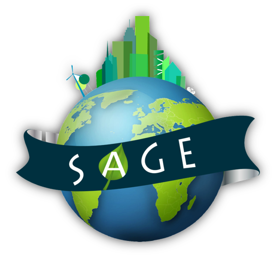 Picture of the earth with a city ontop of it, and a banner across with the SAGE initials
