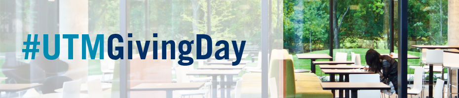 Photo featuring #UTMGivingDay and student studying