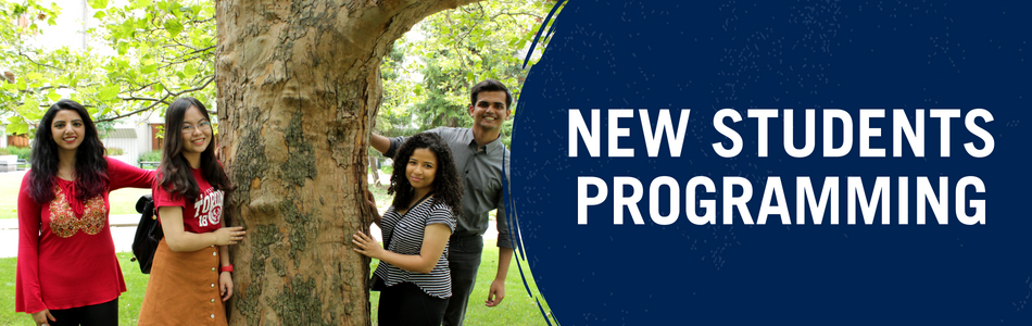 New Students Programming. Banner depicting four students smiling beside a tree.