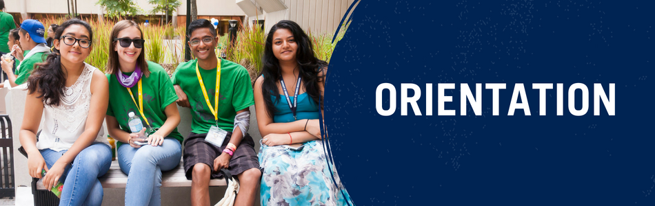 Orientation. Banner depicting four students smiling at a past orientation event.