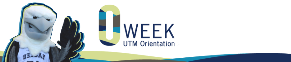 Orientation Banner. To the left of the image banner, there is the UTM Eagle mascot waving. In the middle is the O-Week stylized text with smaller text beneath saying UTM Orientation.