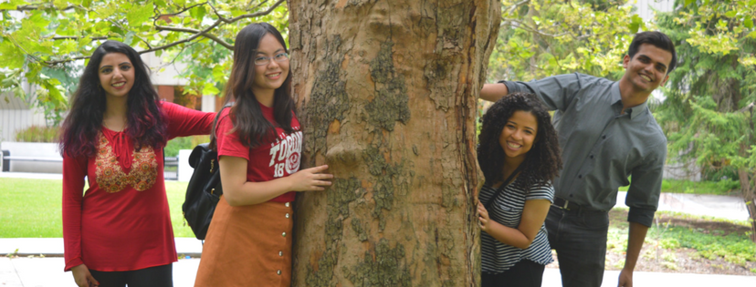 students smiling around a tree on campus