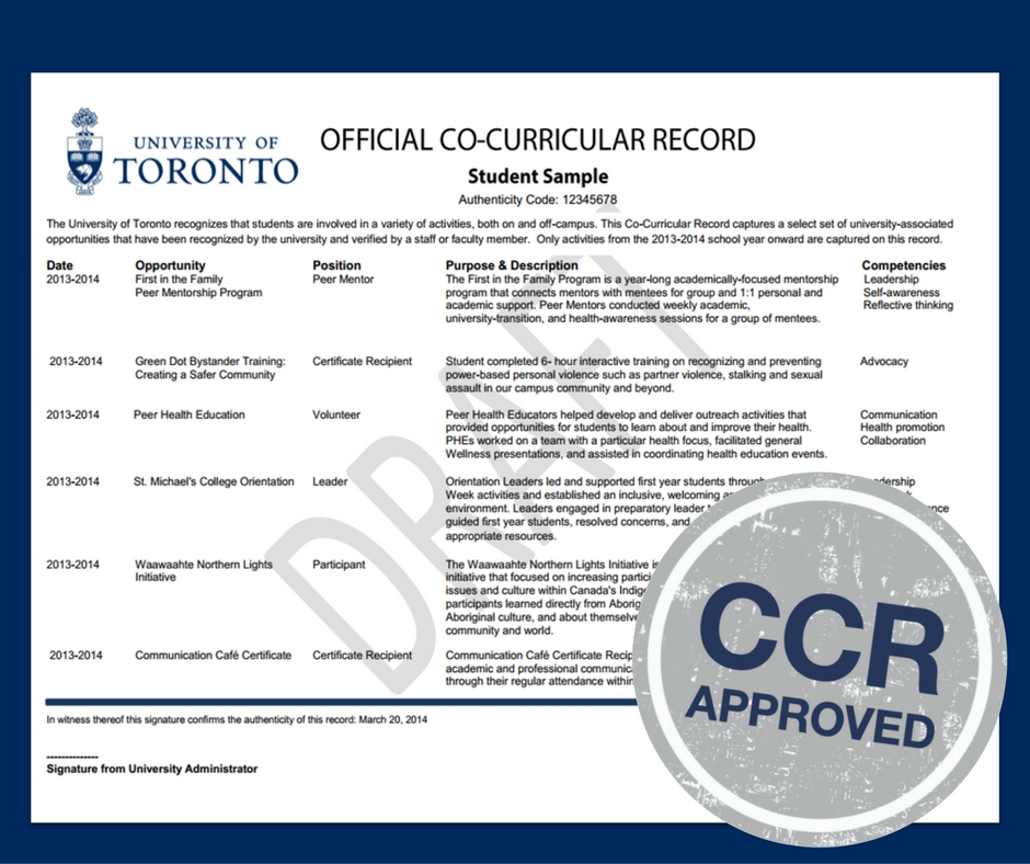 Example of a Co-Curricular Record Document