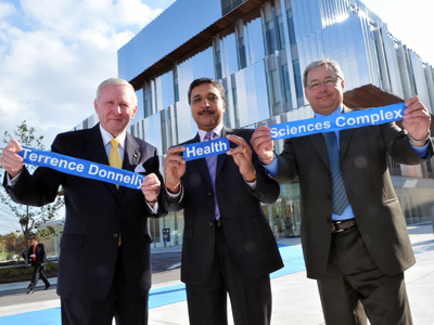 Terrence Donnelly, Deep Saini and Carlo Fidani at the opening of the Terrence Donnelly Health Science Complex