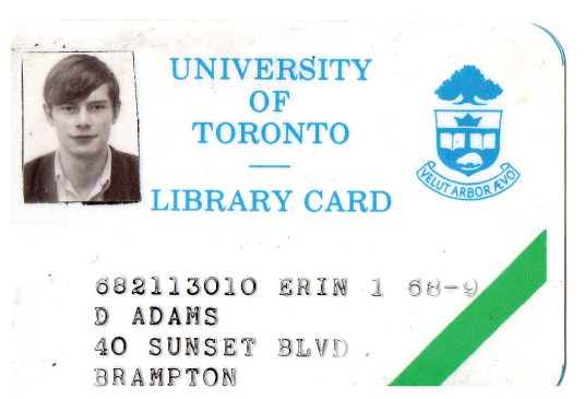 David Adams Erindale library card from 1968