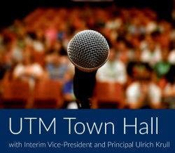 UTM Town Hall logo with image of a microphone