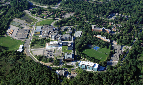 Image of campus photographed from plane in 2011