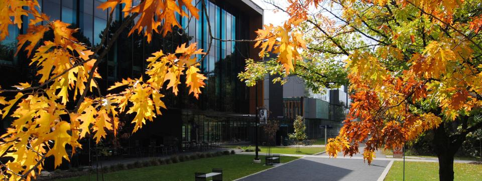 Exterior view of the CCT Building at UTM, surrounded by fall foliage