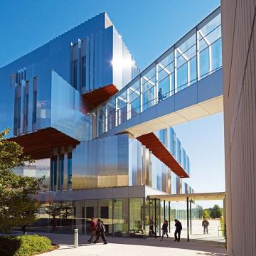 Exterior of the Donnelly Health Sciences Complex on a sunny day