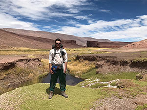 Photo of graduate student Mitchell McMillan in Argentina