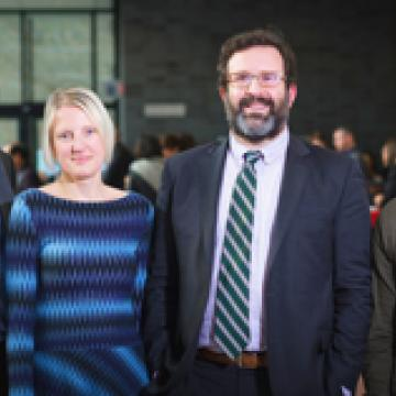 Photo of Bryan Stewart and Research Prize recipients, Professors Emily Impett, Andrew Sepielli, and Josh Milstein