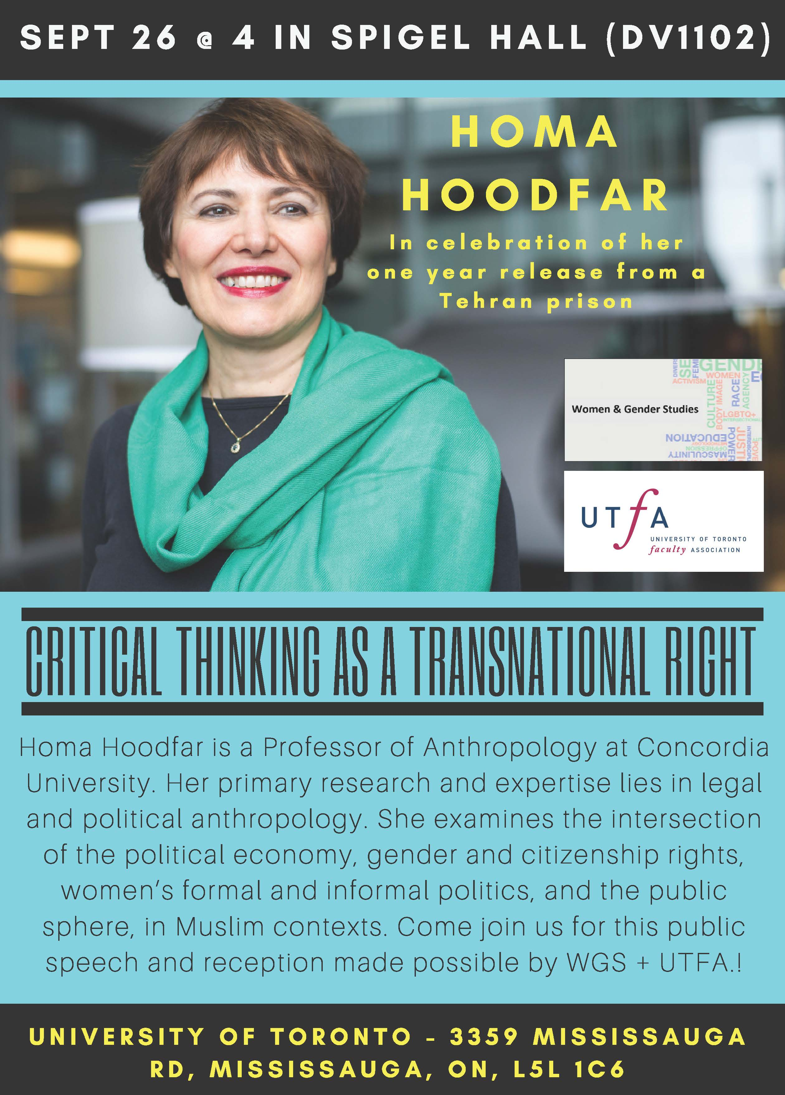 Photo of Event Poster for Homa Hoodfar public talk on September 26th at 4pm in Spigel Hall
